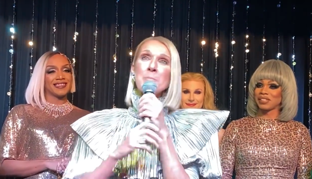(From L to R) Céline Dion, Céline Dion, Céline Dion, and Céline Dion at the Courage album launch party. (Screen capture via YouTube)