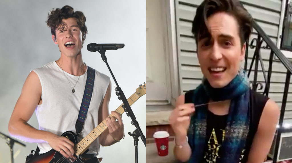 Comedian Benito Skinner has parodied signer Shawn Mendes and now everyone is screaming in gay. (Kevin Mazur/WireImage/Twitter)