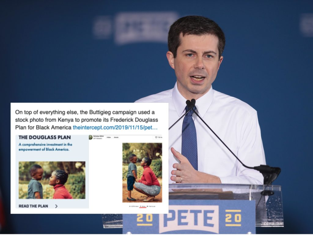 Pete Buttigieg's bid to become US president has been dogged by allegations of tone deafness towards racial minority communities. (Scott Olson/Getty Images)