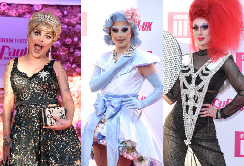 (From L-R) Baga Chipz, Blu Hydrangea and Divina de Campo, the RuPaul's Drag Race UK trinity behind the Frock Destroyers might be coming to a Eurovision near you. (Karwai Tang/WireImage via Getty)