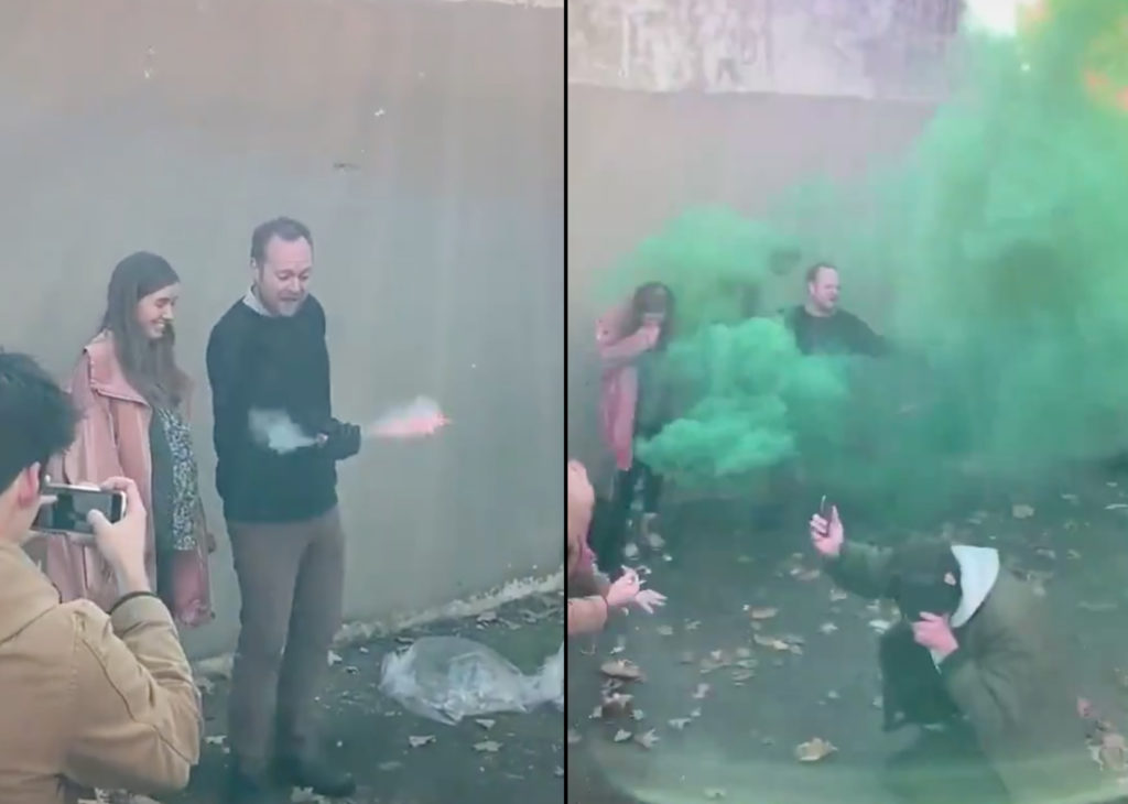 A spoof of a gender reveal party that saw party-goers choking, fainting and covered in blood has taken the practise to meme-grade glory. (Screen captures via Instagram)