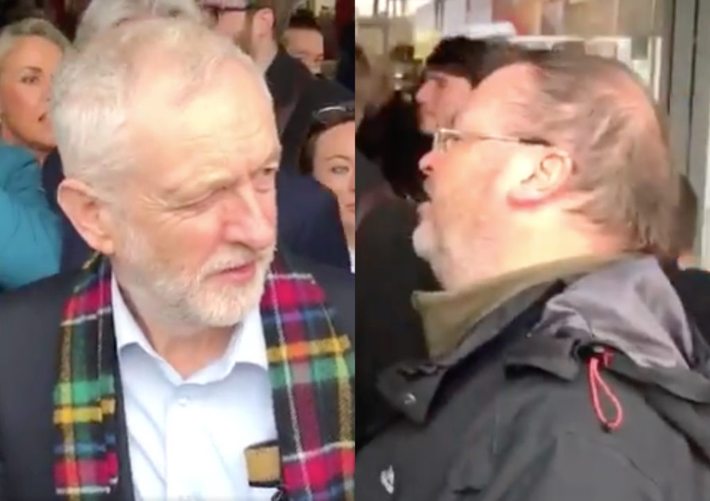 "Jeremy Corbyn (L) was heckled by a Church of Scotland minister who has frequently referred to being gay as a ""perversion"". (Screen captures via Twitter)"