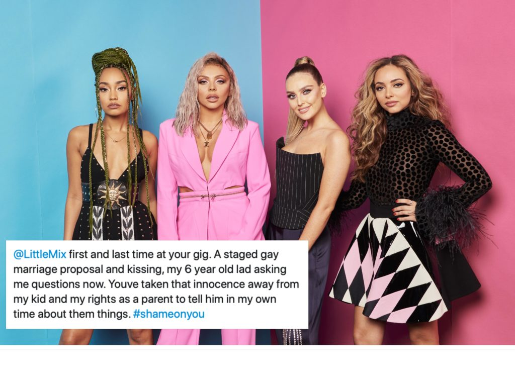 A former Little Mix fan was left outraged when a gay couple got engaged at a gig. (Gareth Cattermole/MTV 2018/Getty Images for MTV)