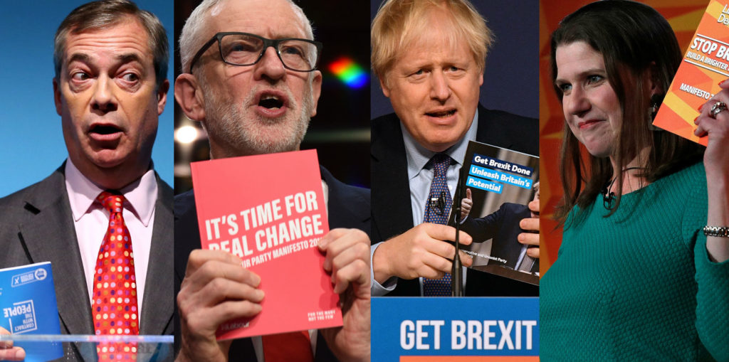 Brexit Party leader Nigel Farage, Labour leader Jeremy Corbyn, Conservative leader Boris Johnson and Lib Dem leader Jo Swinson present their General Election 2019 manifestos
