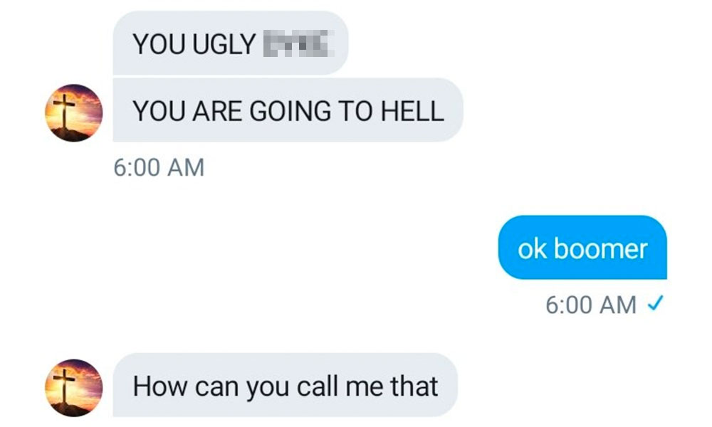 A screenshot of Alyssa's conversation with a homophobe. (Twitter/@yourholyga