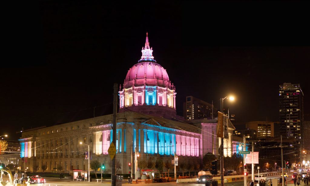 San Francisco City Hall was lit up in the colours of a transgender flag