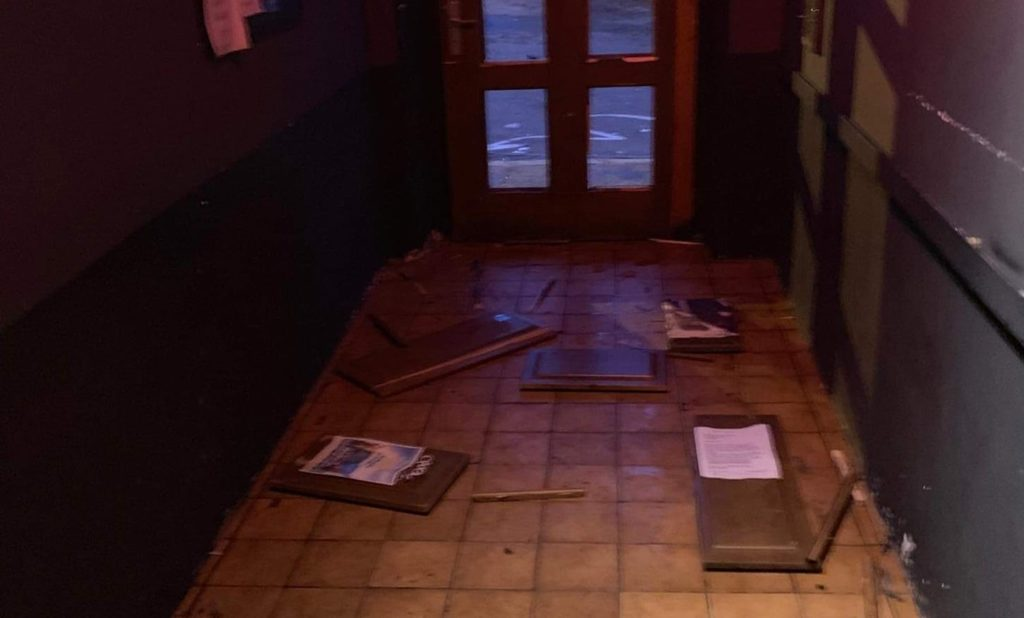 The entrance to Tiffany Club was smashed by the thugs