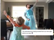 In an adorable video, Norwegian comedian Ørjan Burøe donned a Disney princess dress to dance with his son, but was targeted by a Trump supporter as a result. (Screen capture via Instagram)