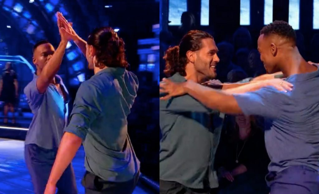 Johannes Radebe (L) and Graziano di Prim became the first same-sex duo to dance on Strictly Come Dancing. (Screenshot via Twitter)