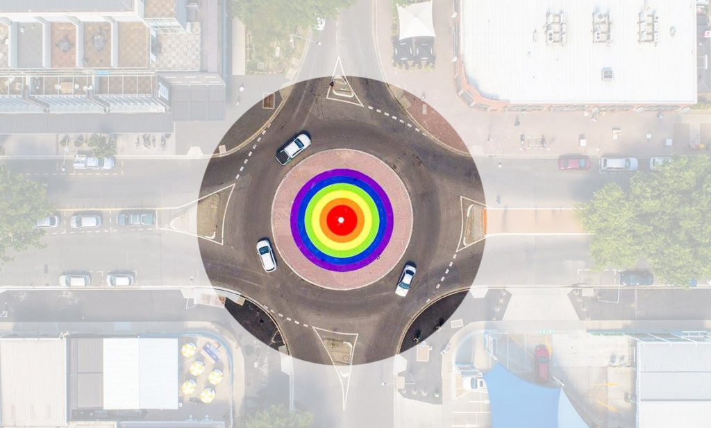 Rainbow roundabouts and crossing are commonplace in sections of Europe. A way for city officials to make clear that LGBT+ citizens and tourists alike are welcome. (Mateusz Cyrulewski)