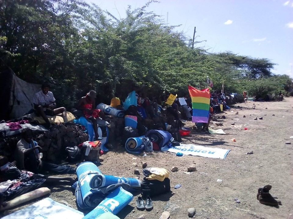 Rainbow refugees rolled-out sleeping bags and Kats outside the UNHCR main offices in Kakuma, Kenya. (Facebook)