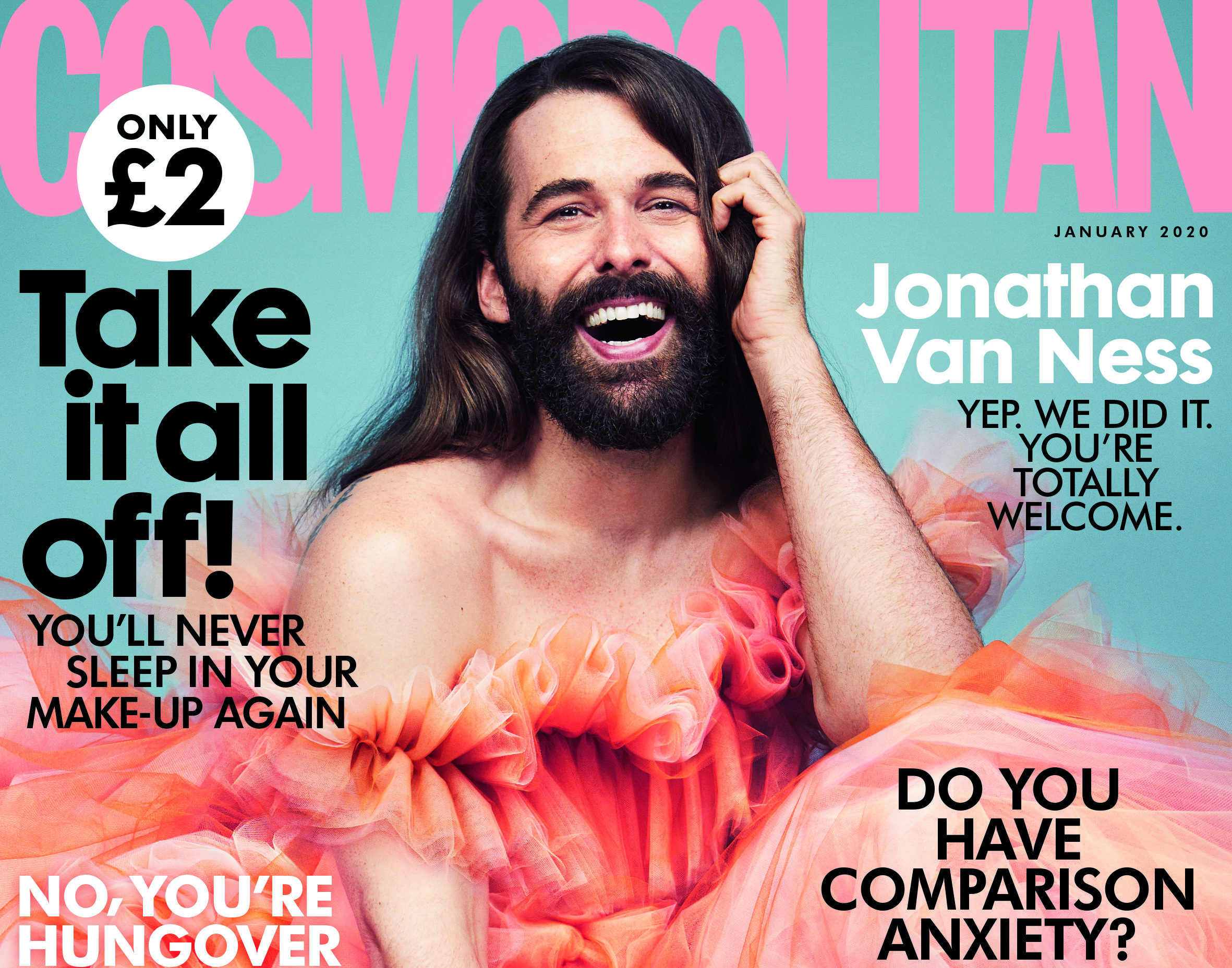 Jonathan Van Ness on the cover of the January 2020 issue of Cosmopolitan UK