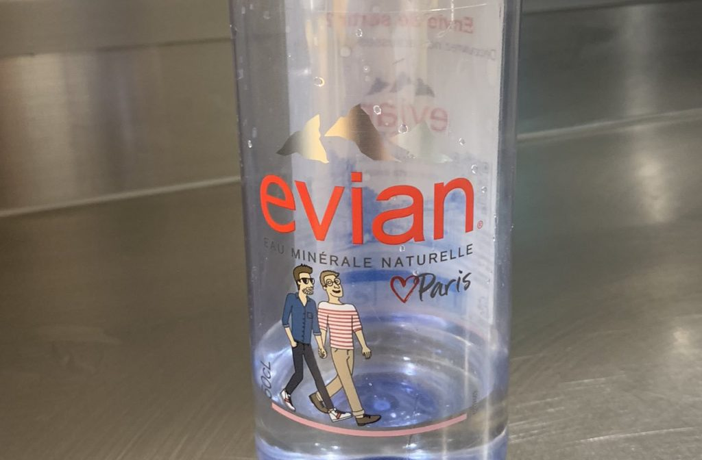 In the latest thing to tick off homophobes, a bottle of Evian water. (Twitter)