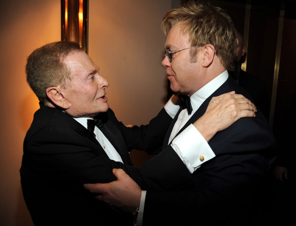 Jerry Herman and Elton John pose outside the press room during the 63rd Annual Tony Awards at Radio City Music Hall on June 7, 2009 in New York City. (Kevin Mazur/WireImage)