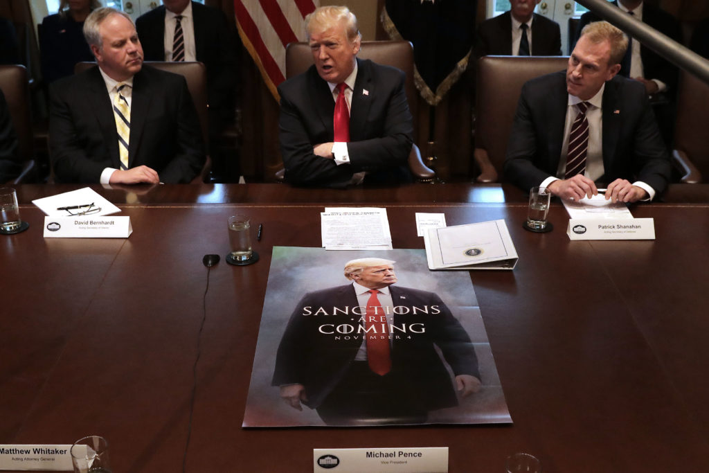 US pesident Donald Trump (C) leads a meeting of his Cabinet, including then-Interior Secretary David Bernhardt (L. (Chip Somodevilla/Getty Images)