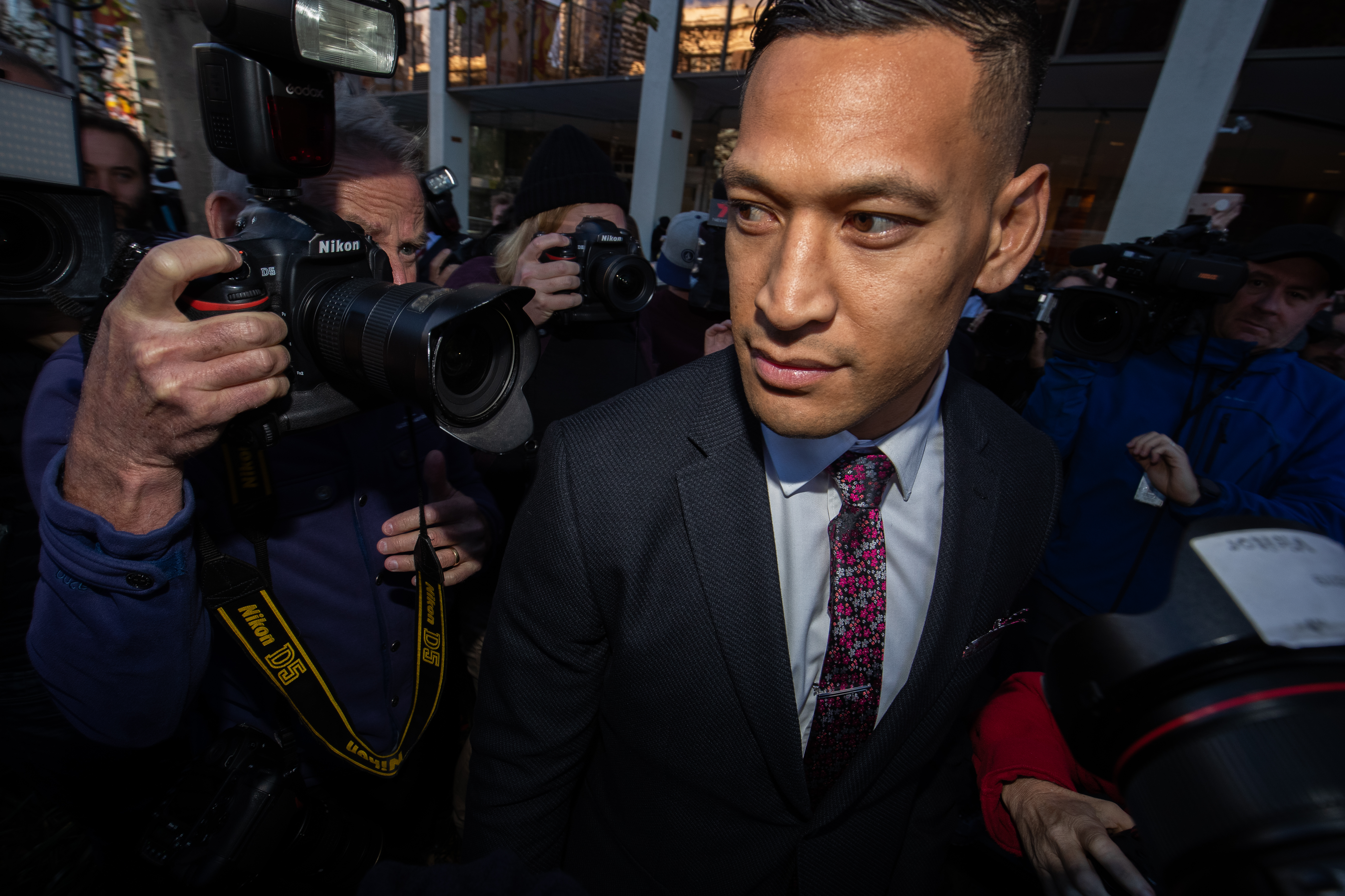 Israel Folau departs his conciliation meeting with Rugby Australia at Fair Work Commission on June 28, 2019 in Sydney.