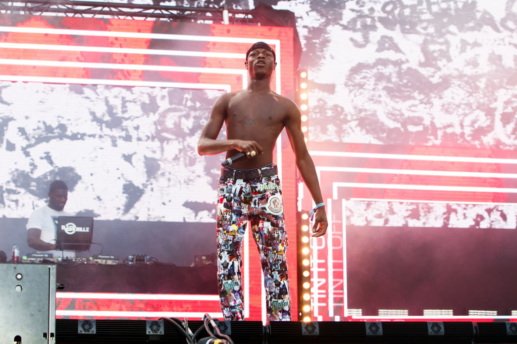 J Hus performs on stage during day 1 of Lovebox 2019 at Gunnersbury Park on July 12, 2019 in London, England.