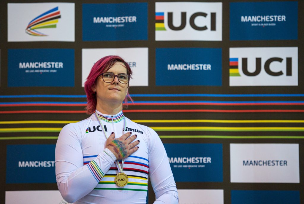Canadian cyclist Rachel McKinnon celebrates her gold medal on the podium for the F35-39 Sprint discipline of the UCI Masters Track Cycling World Championships