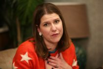 Liberal Democrats leader Jo Swinson gestures during a general election campaign visit to Manor Grange Care Home in Edinburgh, Scotland on December 5, 2019.