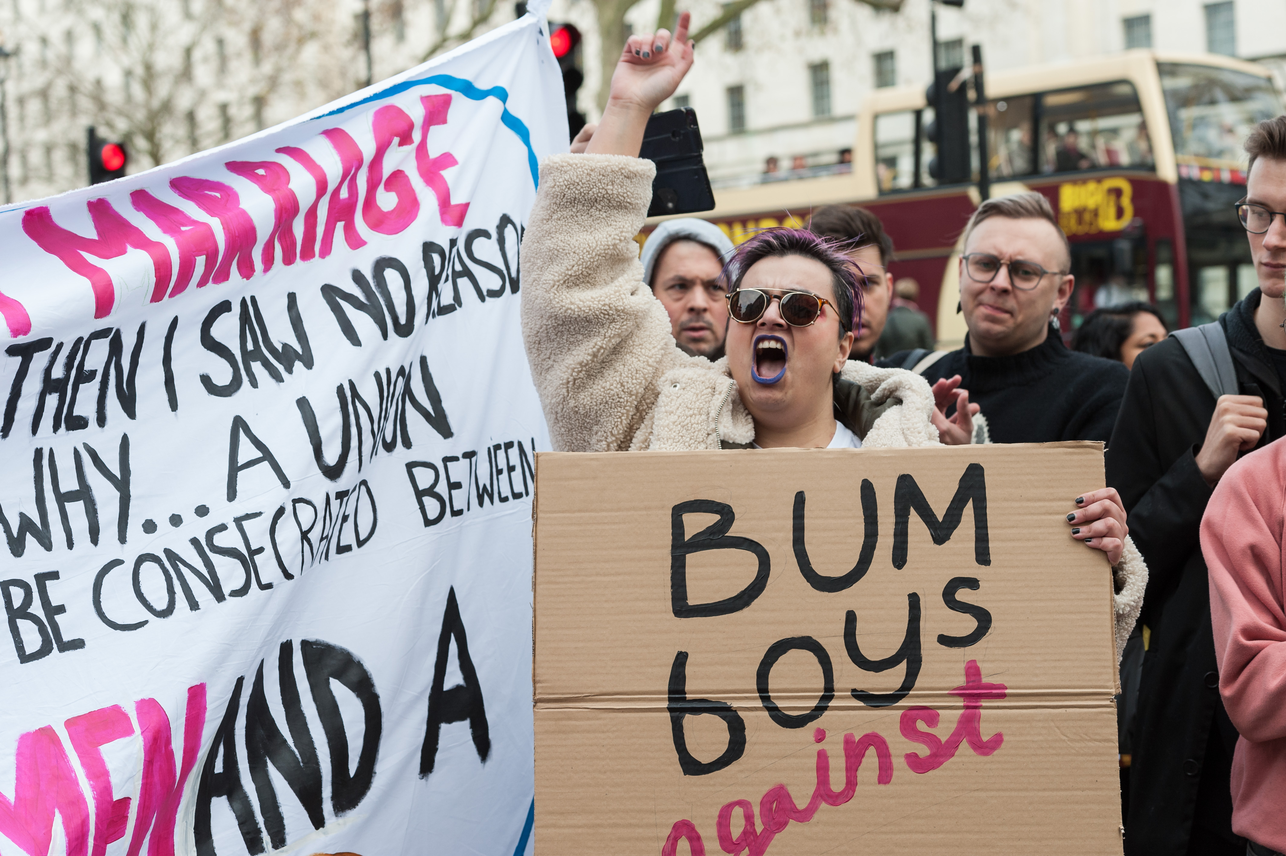 Protesters held a 'bum boys against Boris Johnson' protest outside Downing Street