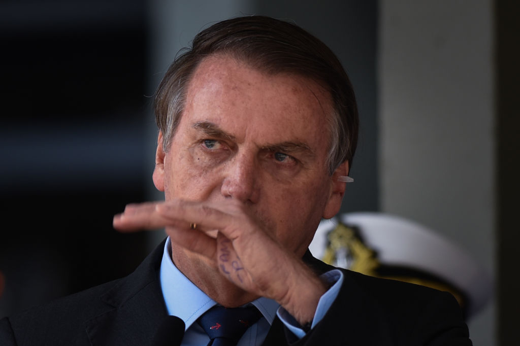 Brazilian President Jair Bolsonaro attends the Navy Day celebrations at the Marines Corp headquarters in Brasilia, on December 13, 2019.