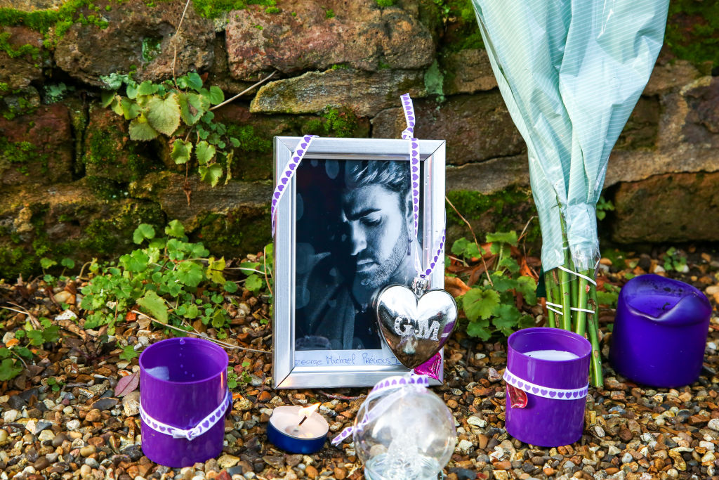 Tributes outside George Michael's former house in Highgate, north London after the death of his younger sister, Melanie Panayiotou.