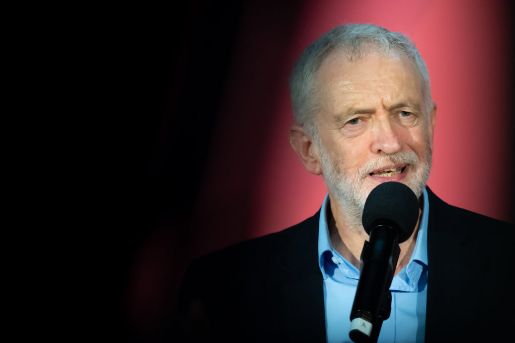 Jeremy Corbyn speaks to the audience at the Patti Pavilion on December 7, 2019 in Swansea, Wales. (Matthew Horwood/Getty Images)