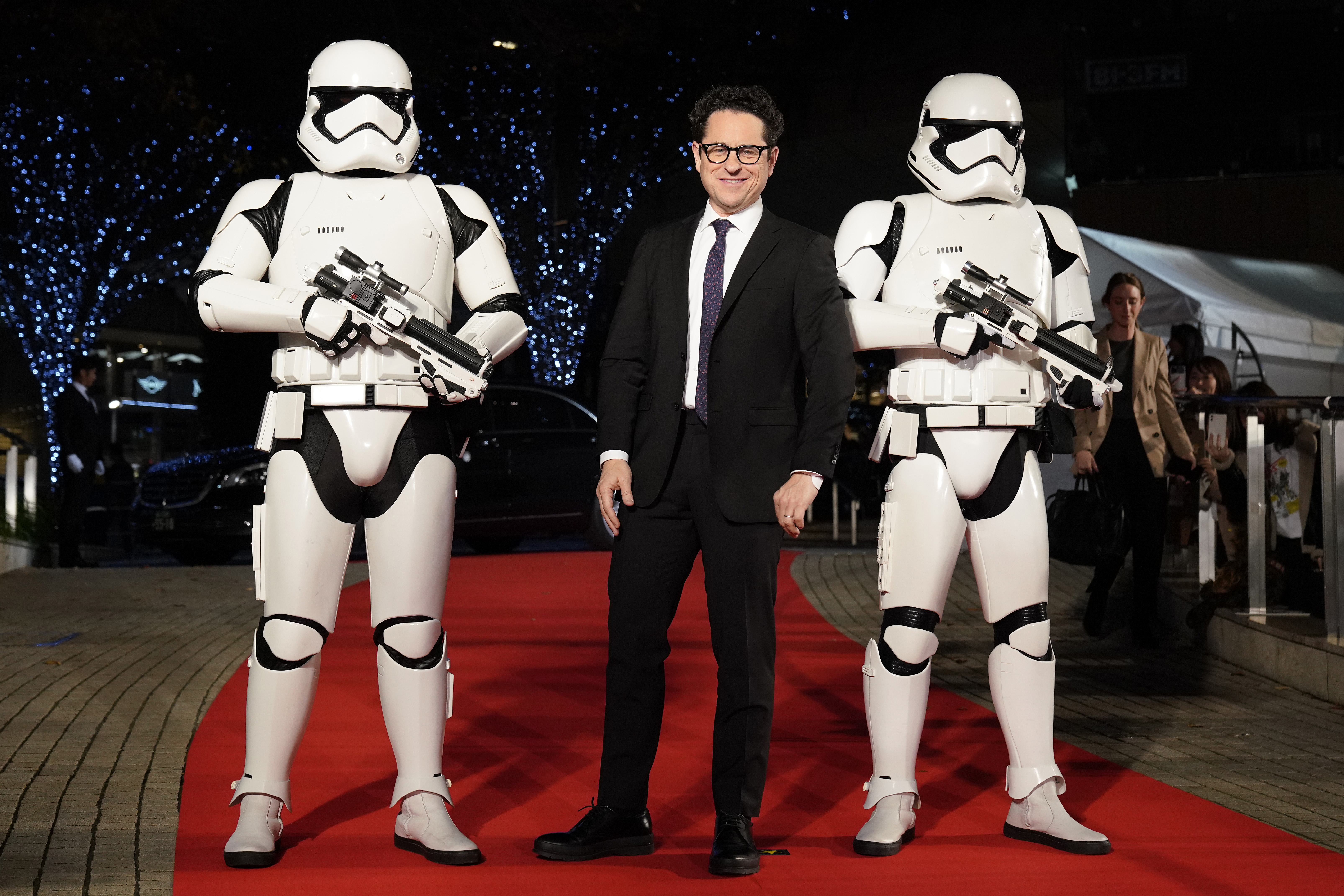 JJ Abrams with Stormtroopers attends the special fan event for 'Star Wars: The Rise of Skywalker' at Roppongi Hills on December 11, 2019 in Tokyo, Japan.