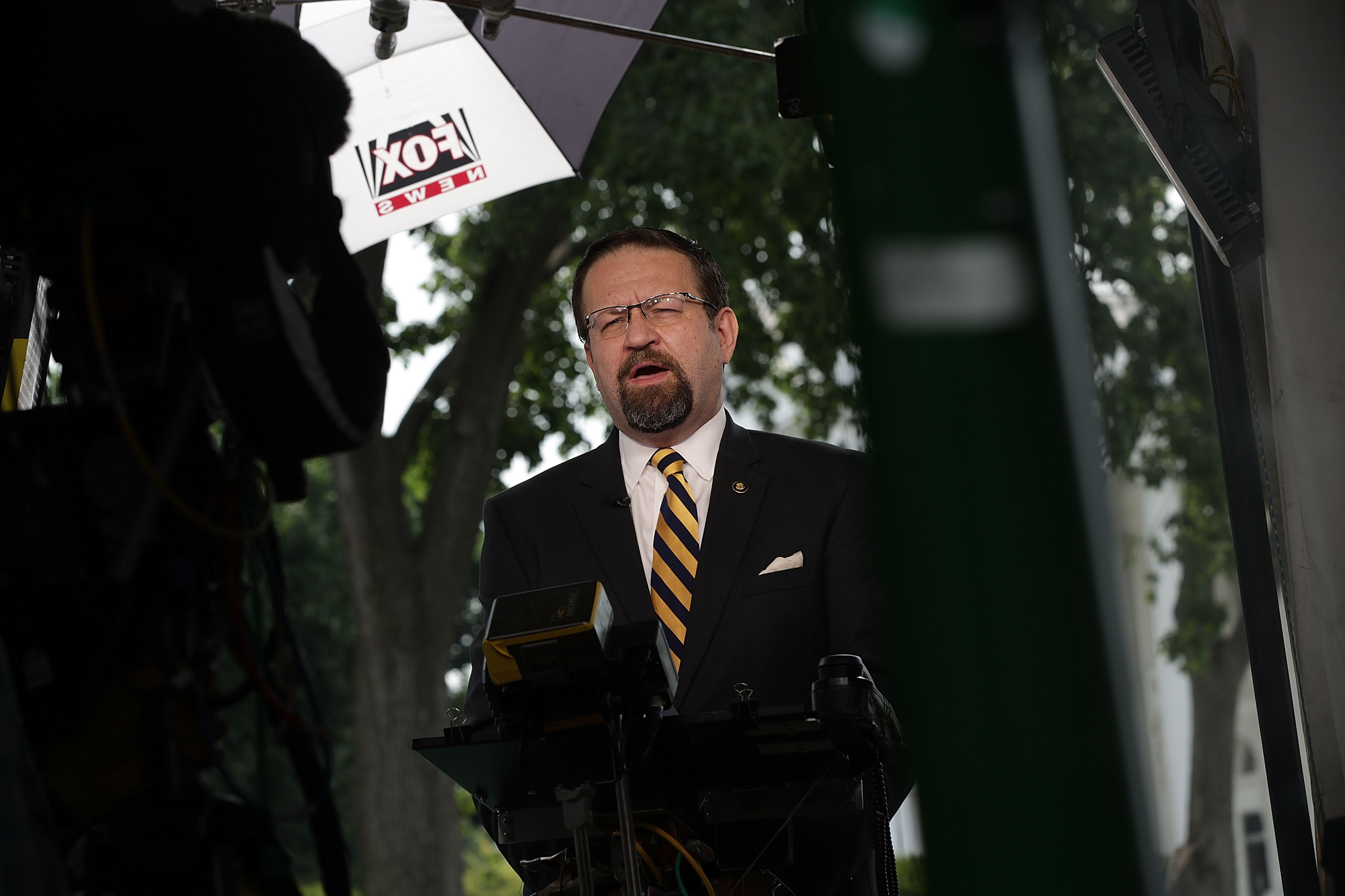 Star Wars President Sebastian Gorka speaks as he is interviewed by Fox News remotely from the White House June 22, 2017 in Washington, DC.