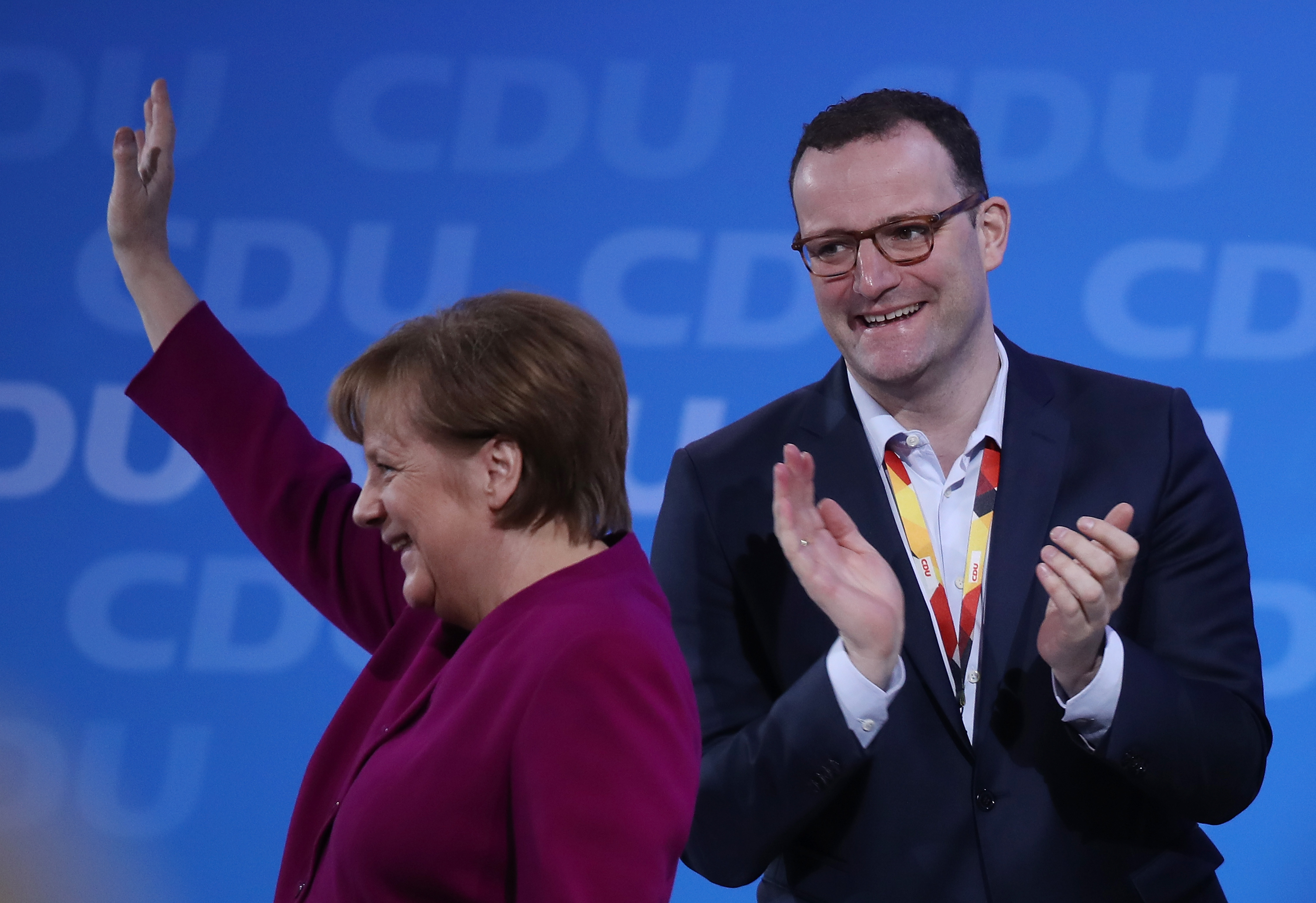 Chancellor of Germany Angela Merkel with health minister Jens Spahn