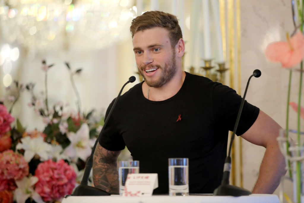 Gus Kenworthy speaks at the Life Ball 2018 international press conference at Albertina on June 2, 2018 in Vienna, Austria.