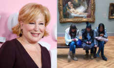 Bette Midler / three girls on a bench in front of a painting, looking at their phones
