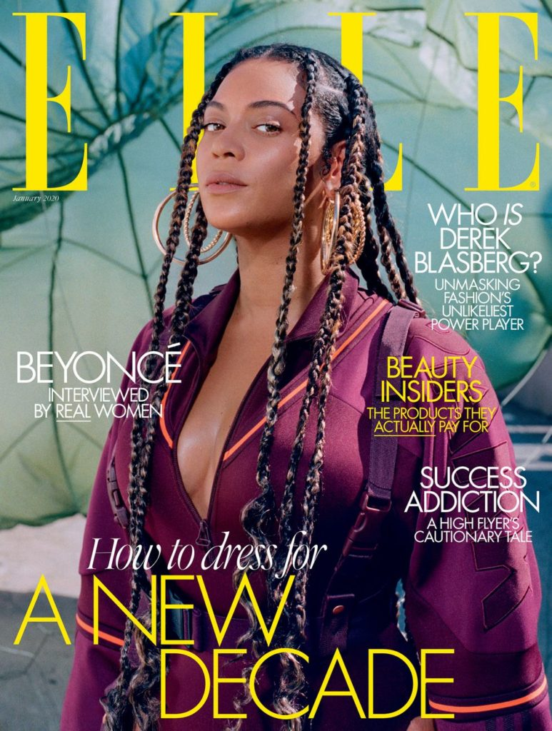 Beyoncé appears on the cover of January's Elle magazine.
