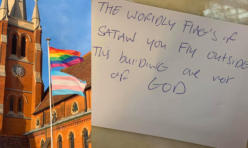 Rainbow and trans flags outside of a church told it is 'of Satan'