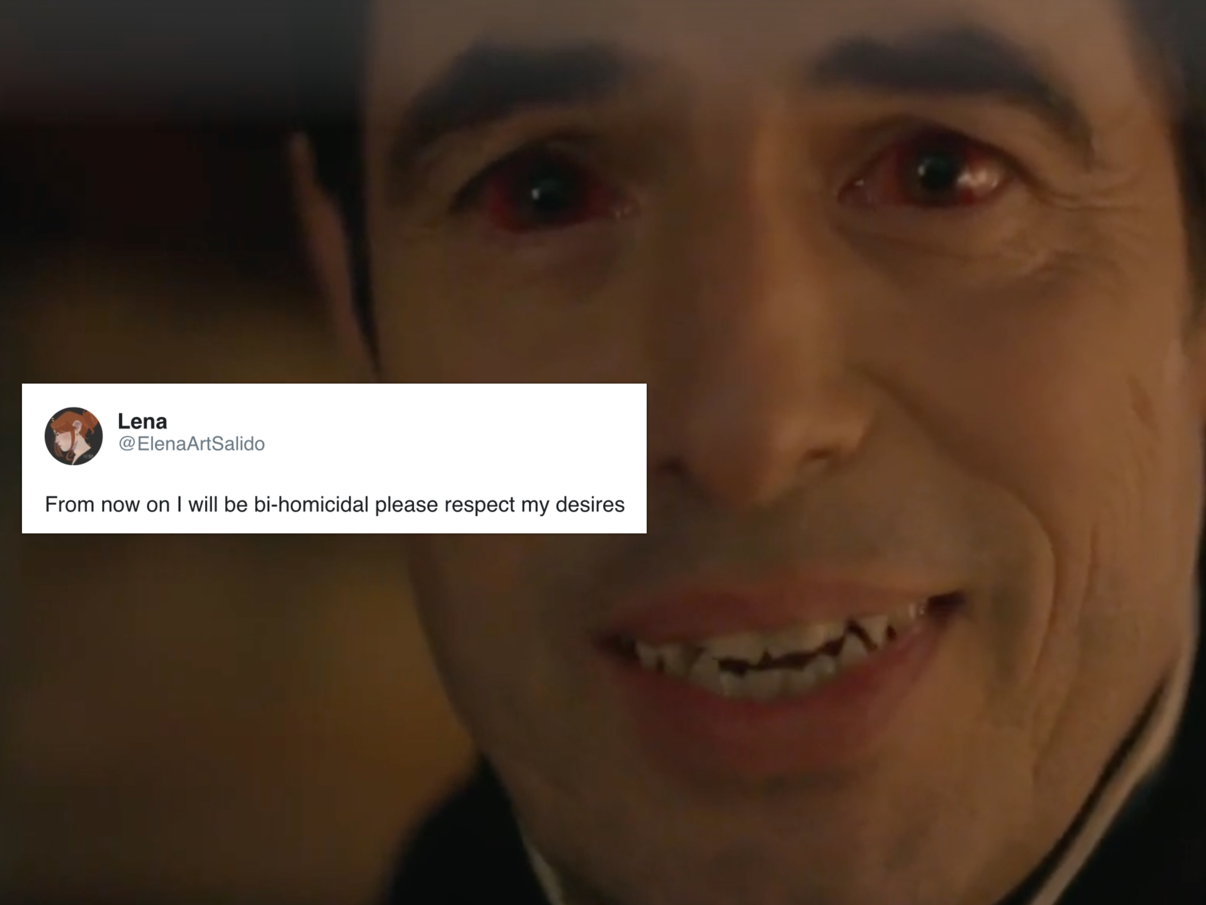 """Claes Bang as Dracula, who was described by the show's co-writer as """"bi-homicidal"""". (Screen capture via YouTube)"""