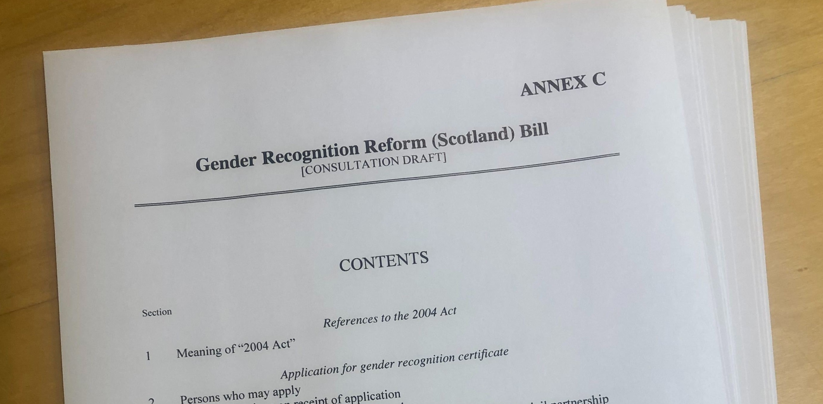 The draft bill sets out the process for Scotland's devolved gender recognition system