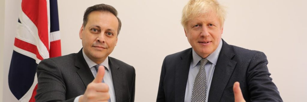 New Tory MP Imran Ahmad Khan with Boris Johnson