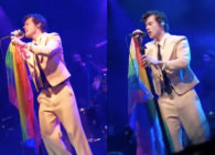 Our lord and saviour Harry Styles holding an LGBT+ Pride flag. We need this injected into our veins right now. (Screen captures via Twitter)