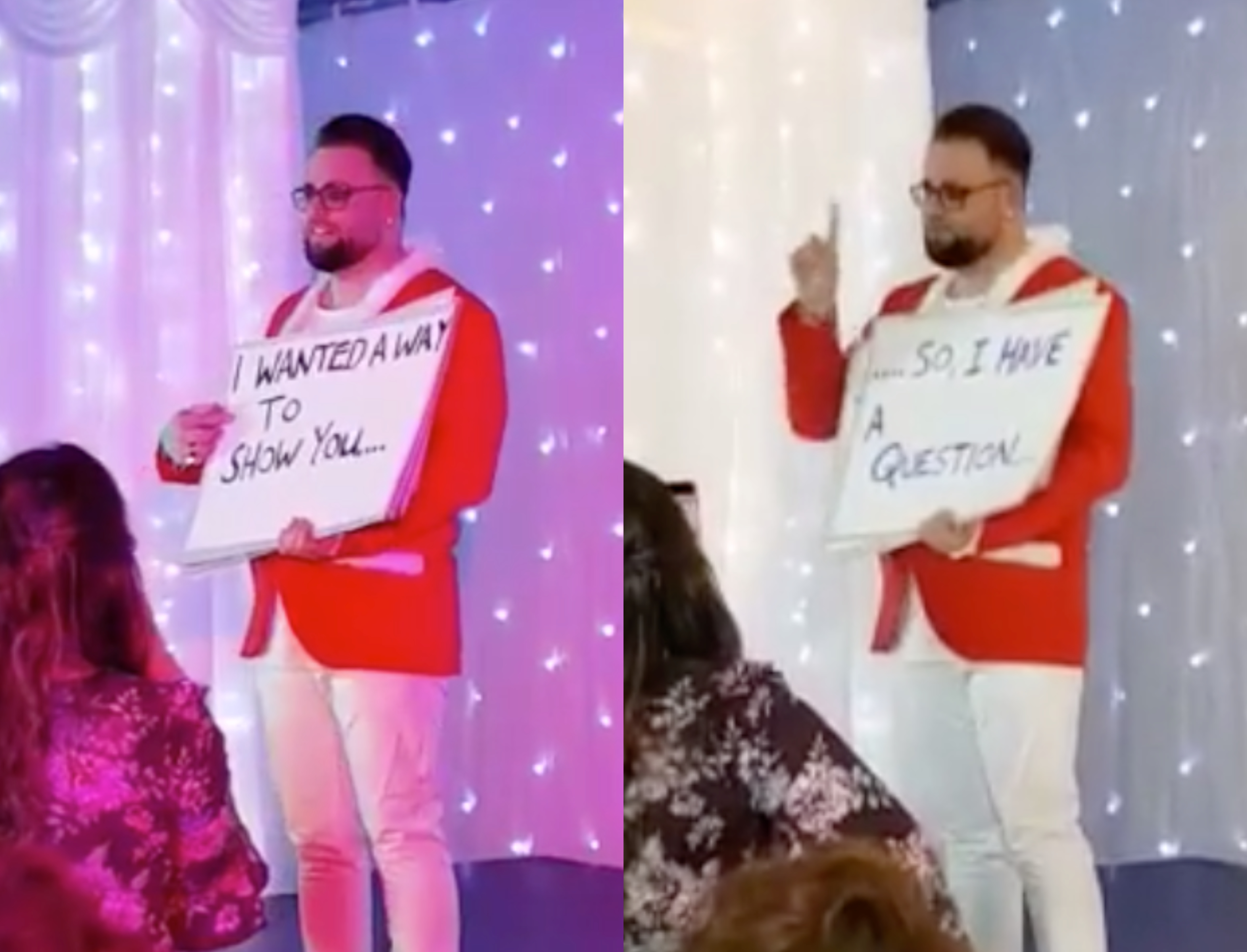 CJ Ewens proposed to his partner Christopher Nicoll in the style of the film Love Actually. Cry reacts only. (Screen captures via Facebook)