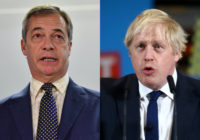 Nigel Farage (L) has sought to defend prime minister Boris Johnson amid continued calls for him to apologise for derisory language used in his journalism. (PAUL ELLIS/AFP via Getty Images/Hannah McKay - WPA Pool/Getty Images