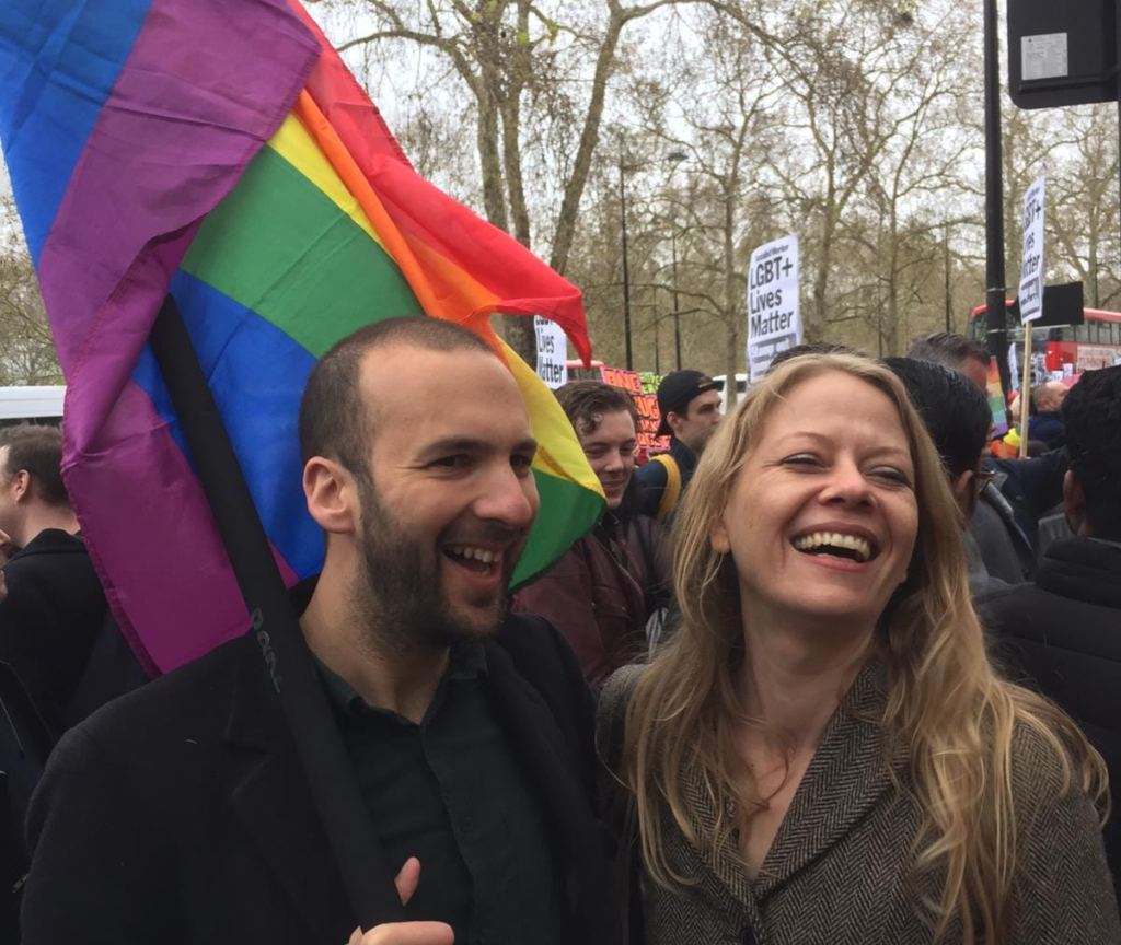 Zack Polanski (L) with Green Party leader Siân Berry at London Pride. (Green Party)