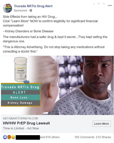 Misleading ads attacking PrEP had attracted anger