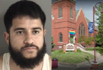 Adolfo Martinez was sentenced to at least 15 years jail time after setting the Pride flag outside a church on fire. (Ames Police Department/Screenshot via Google Maps)