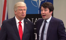 Alec Baldwin as Donald Trump, Jimmy Kimmel as Emmanuel Macron on SNL