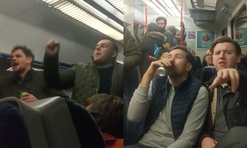 Shocking video footage shows a group of louts shouting a vile, misogynistic chant and using homophobic and transphobic language on a packed London train