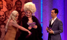 Baga Chipz wafting a card over The Vivienne's crotch as Jimmy Carr looks on