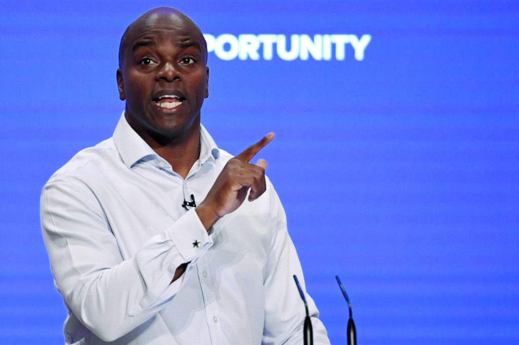 Shaun Bailey, London Mayoral candidate speaks during the final day of the Conservative Party Conference on October 3, 2018 in Birmingham, England.