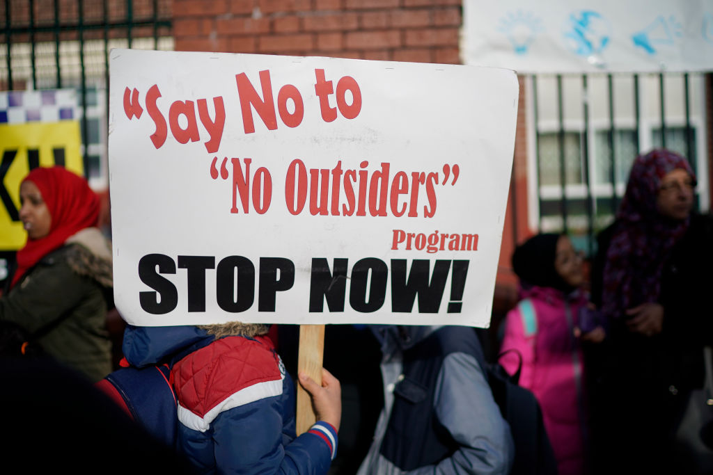Protestors demonstrate against the 'No Outsiders' programme at Parkfield Community School on March 21, 2019 in Birmingham, England