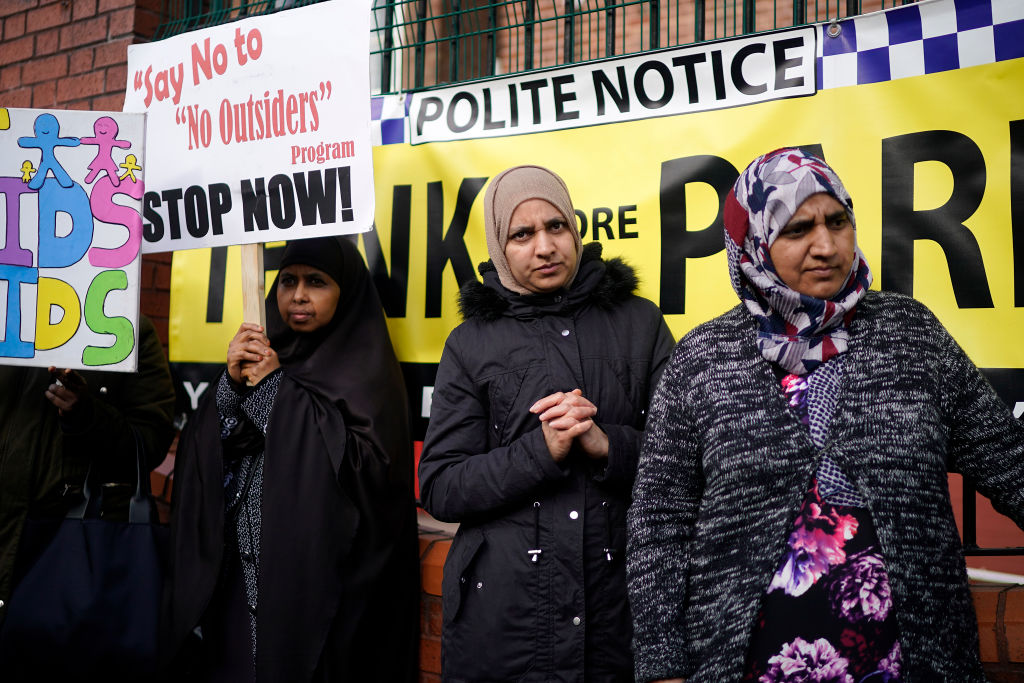 Protestors demonstrate against the 'No Outsiders' programme, at Parkfield Community School on March 21, 2019 in Birmingham, England.