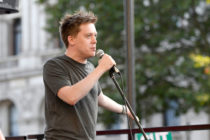 Guardian columnist, Owen Jones speaks at an anti Boris Johnson election rally